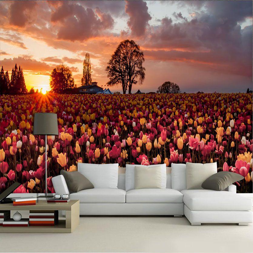 Papel de Parede 3D Campos 0005 - Papel de Parede para Sala  - Paredes Decoradas