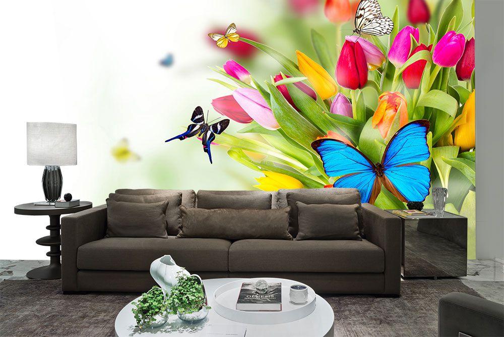 Papel De Parede 3D | Flores 0002 - Adesivo de Parede  - Paredes Decoradas