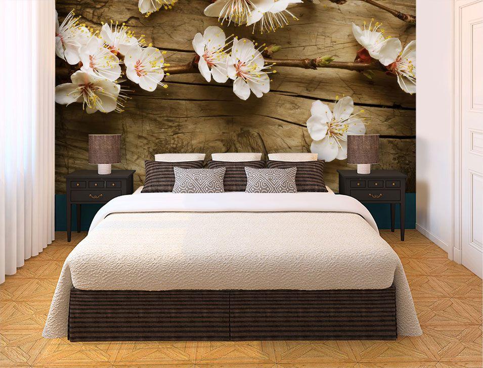 Papel De Parede 3D   Flores 0008 - papel de parede paisagem  - Paredes Decoradas