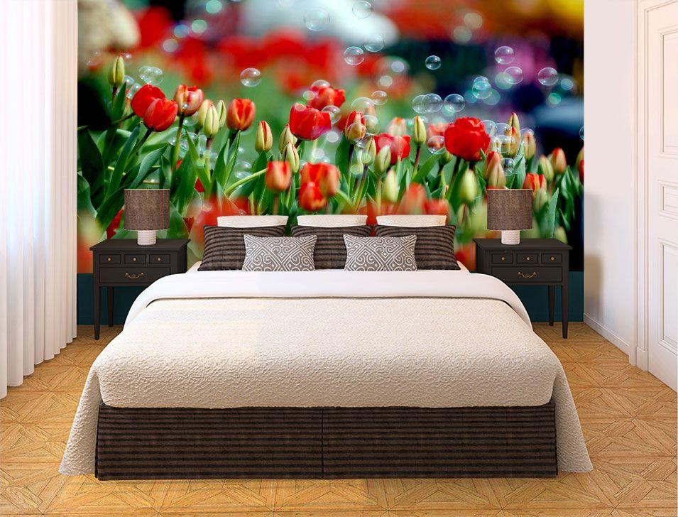 Papel De Parede 3D   Flores 0020 - papel de parede de flores  - Paredes Decoradas