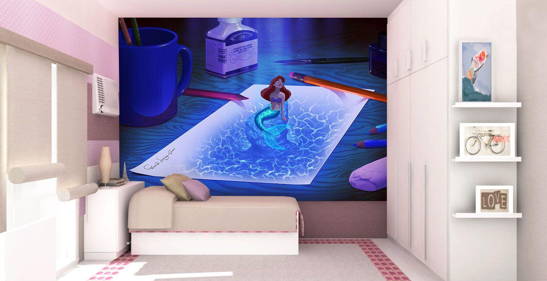 Papel de Parede Infantil Ariel 0004 - papel de parede para quarto  - Paredes Decoradas