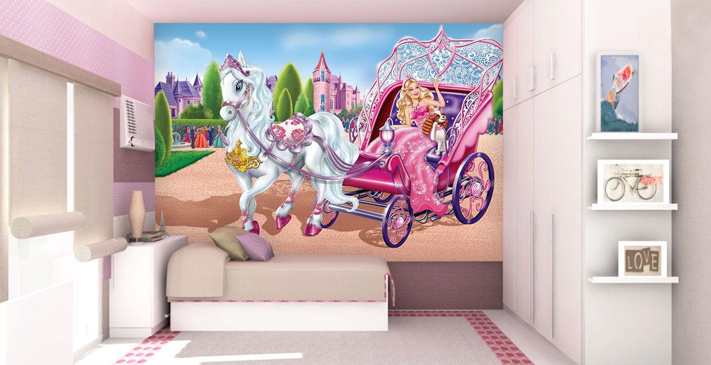 Papel De Parede 3D | Papel de Parede Infantil Barbie 0001 - Sobmedida: m²  - Paredes Decoradas