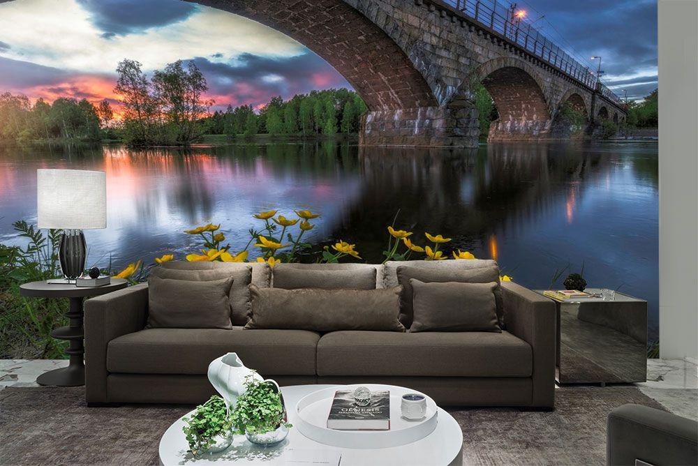 Papel De Parede 3D Pontes 0003 - papel de parede paisagem   - Paredes Decoradas