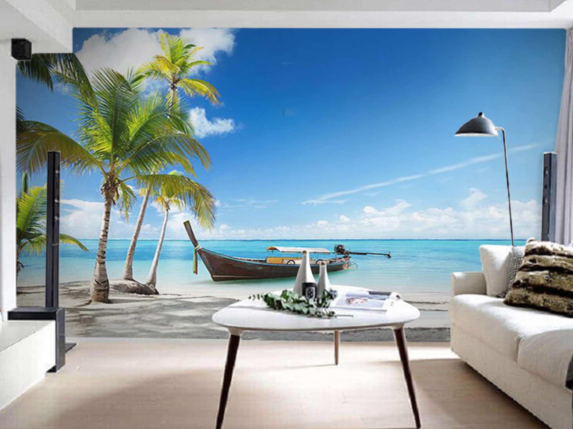 Papel de Parede 3D Praias 0002 - Adesivo Paisagem