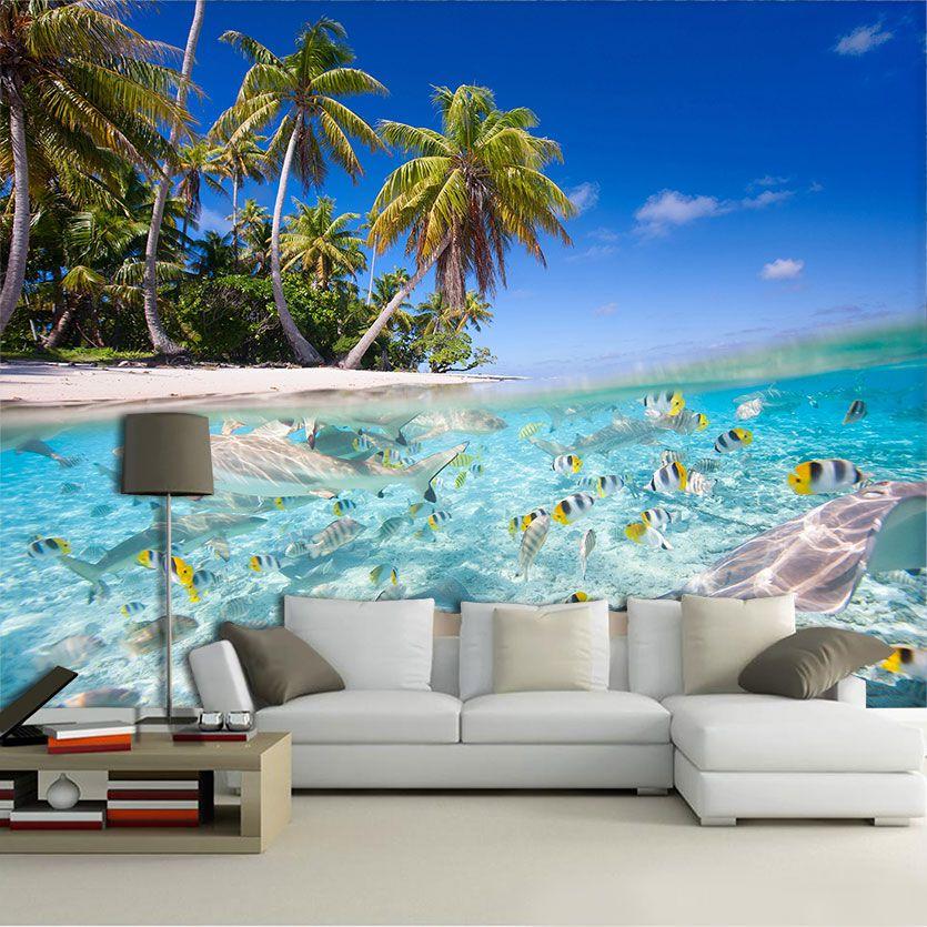 Papel de Parede 3D Praias 0003 - Adesivo Paisagem  - Paredes Decoradas