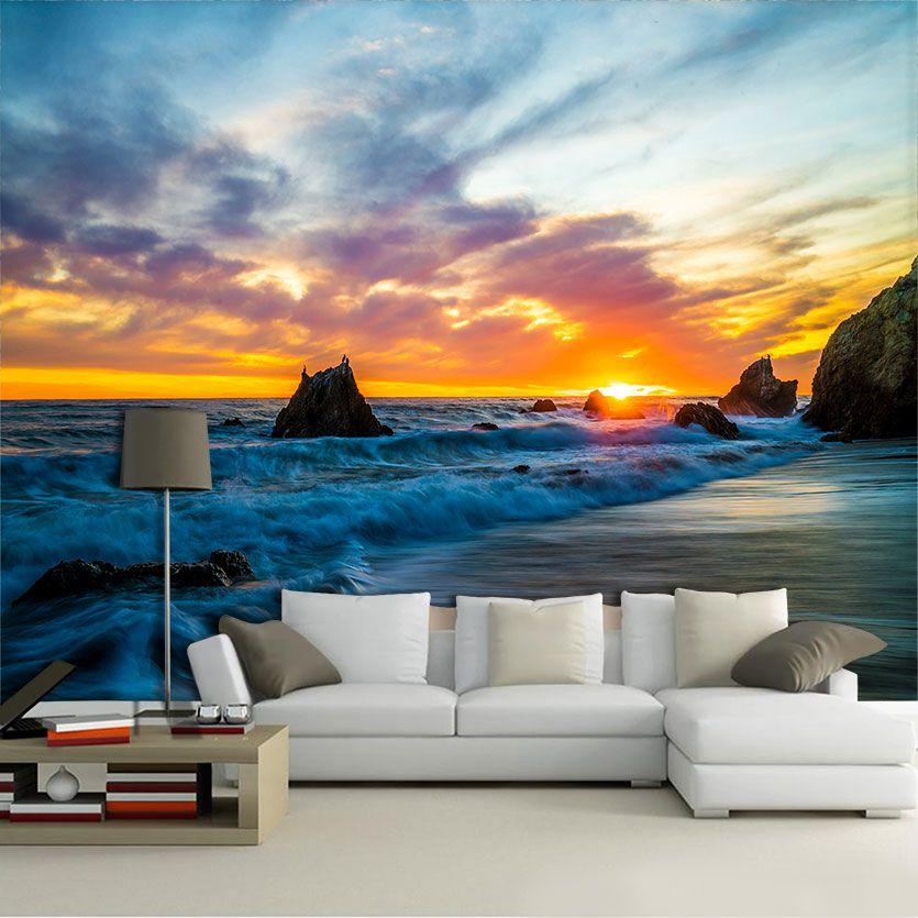 Papel de Parede 3D Praias 0008 - Adesivo Paisagem