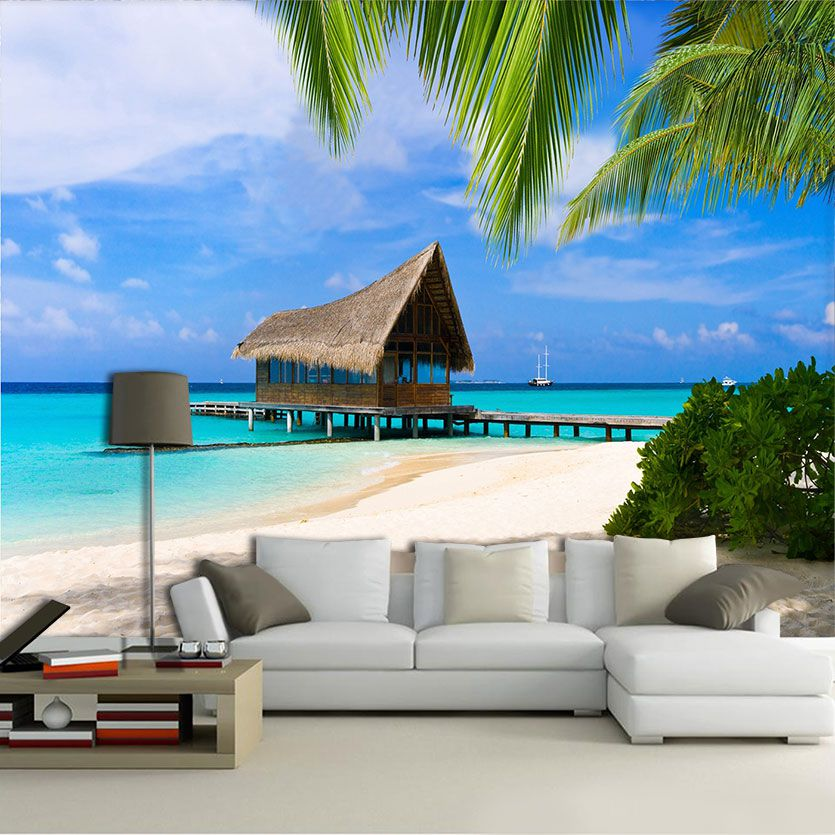Papel de Parede 3D Praias 0020 - Adesivo Paisagem