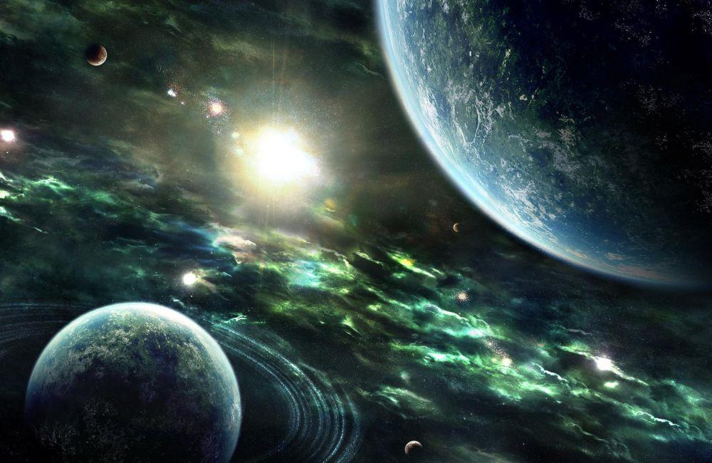Papel De Parede 3D Universo 0012 - papel de parede paisagem  - Paredes Decoradas