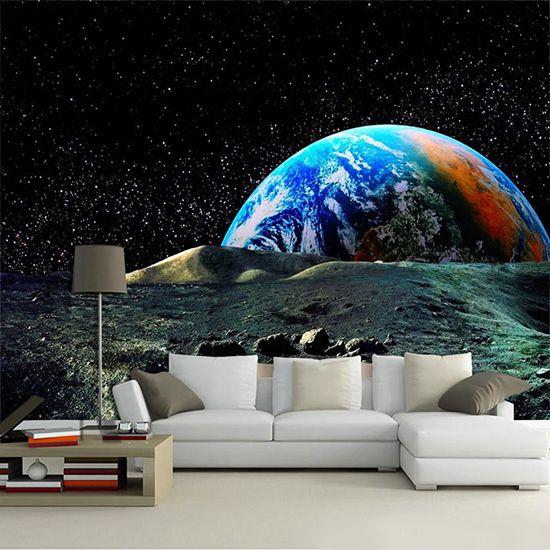 Papel De Parede 3D Universo 0017 - papel de parede paisagem  - Paredes Decoradas