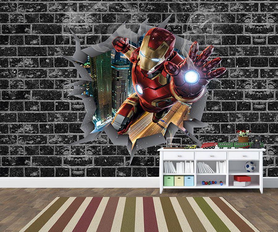 Papel de Parede 3D Vingadores Tijolos 0002  - Paredes Decoradas