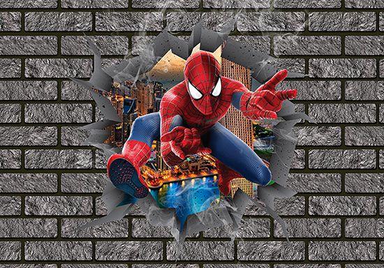 Papel de Parede 3D Vingadores Tijolos 0005  - Paredes Decoradas