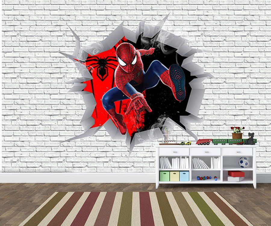 Papel de Parede 3D Vingadores Tijolos 0009  - Paredes Decoradas