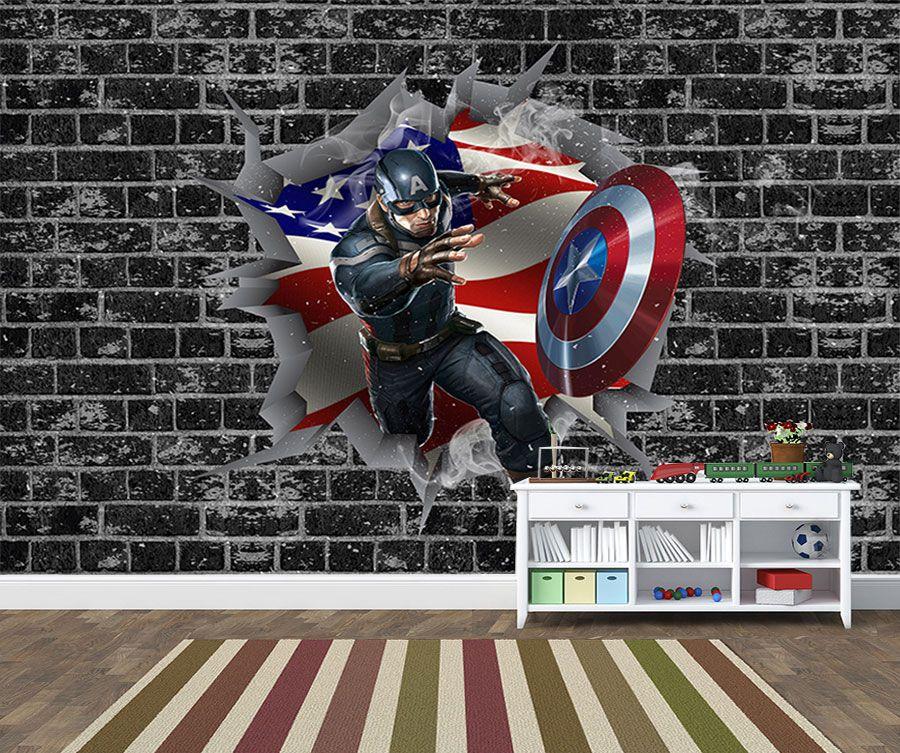 Papel de Parede 3D Vingadores Tijolos 0014