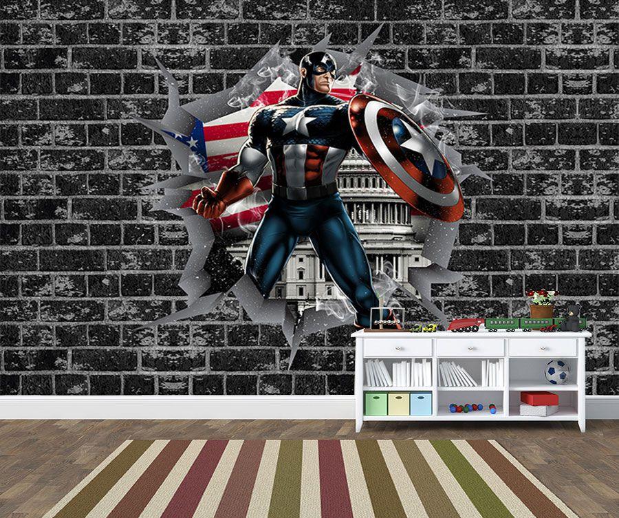 Papel de Parede 3D Vingadores Tijolos 0016