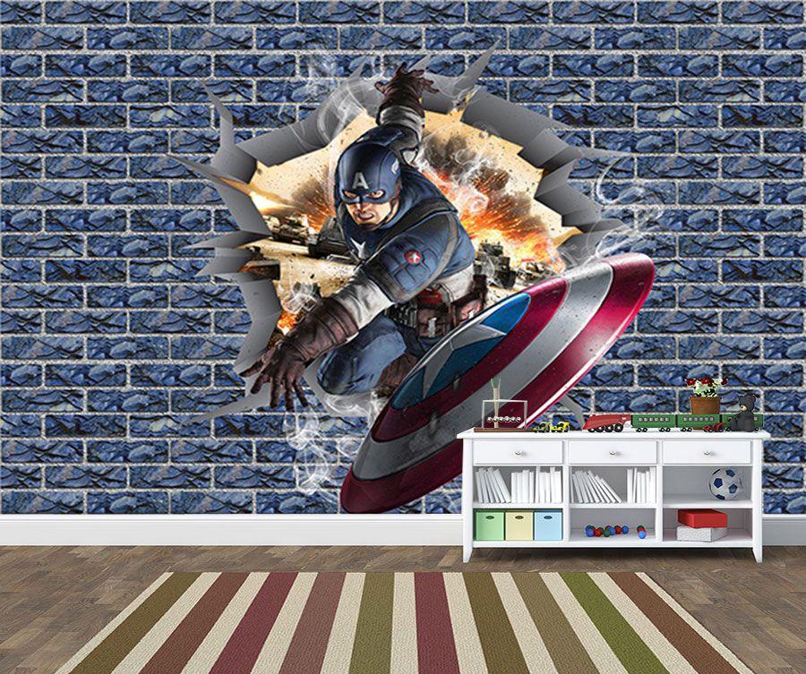 Papel de Parede 3D Vingadores Tijolos 0018  - Paredes Decoradas