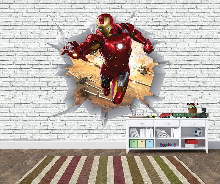 Papel de Parede 3D Vingadores Tijolos 0025