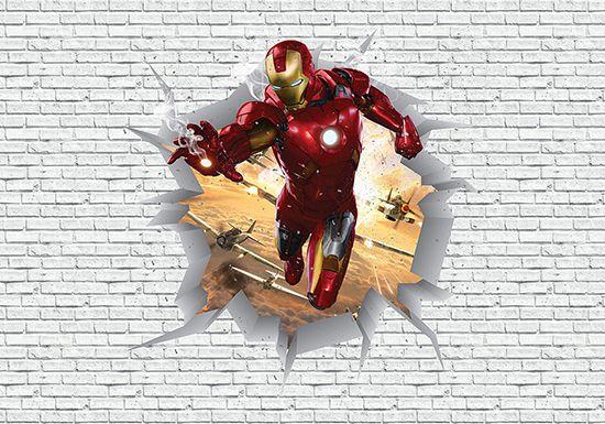 Papel de Parede 3D Vingadores Tijolos 0025  - Paredes Decoradas