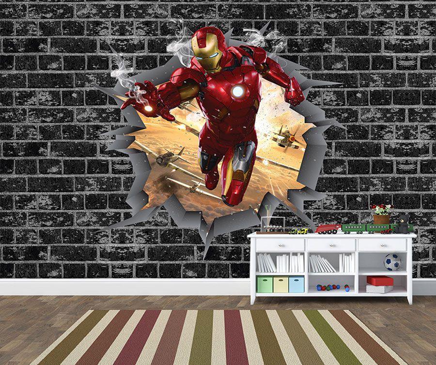 Papel de Parede 3D Vingadores Tijolos 0026