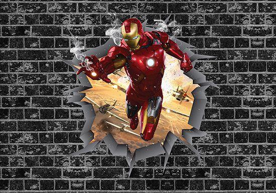 Papel de Parede 3D Vingadores Tijolos 0026  - Paredes Decoradas