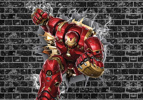 Papel de Parede 3D Vingadores Tijolos 0028  - Paredes Decoradas