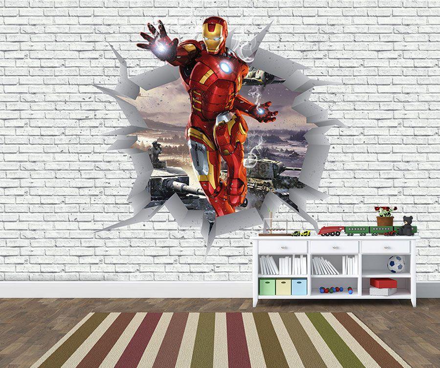 Papel de Parede 3D Vingadores Tijolos 0029  - Paredes Decoradas