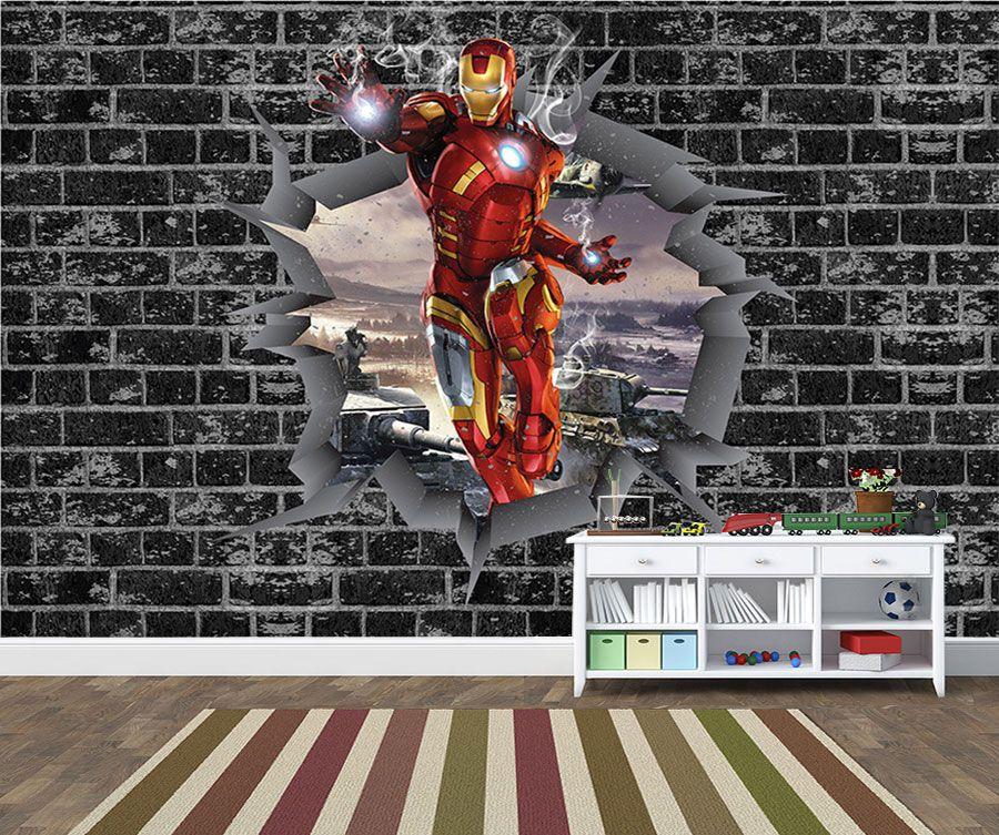 Papel de Parede 3D Vingadores Tijolos 0030