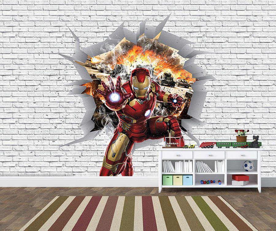 Papel de Parede 3D Vingadores Tijolos 0031  - Paredes Decoradas