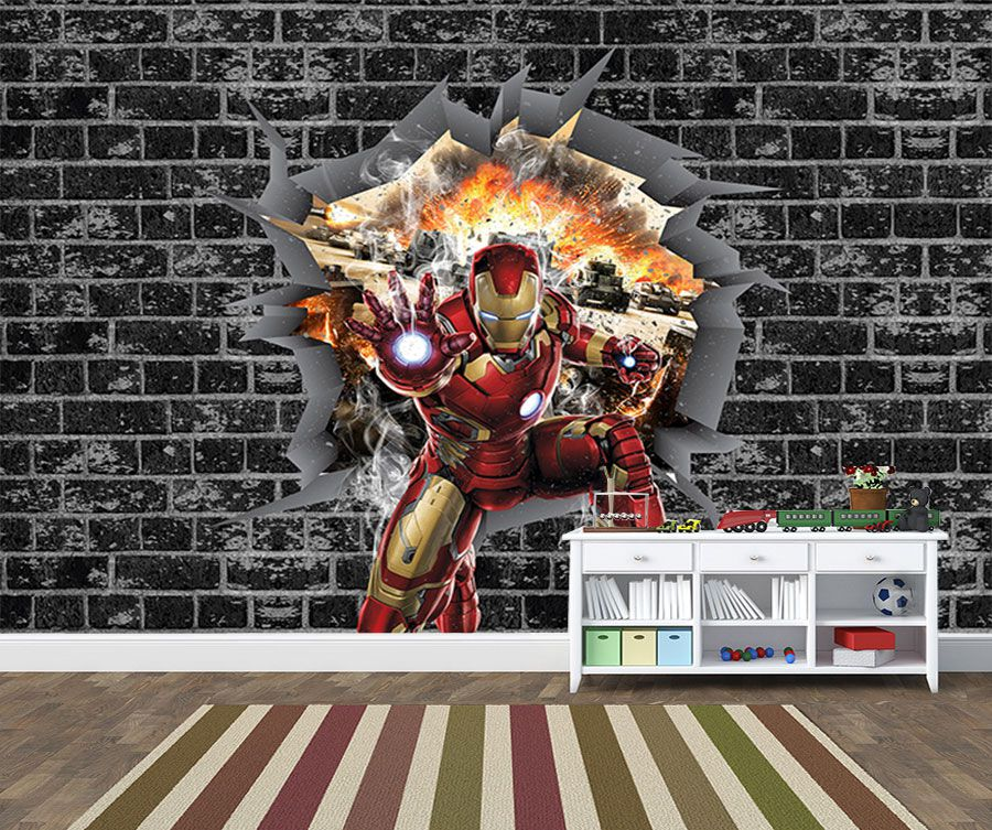 Papel de Parede 3D Vingadores Tijolos 0032  - Paredes Decoradas