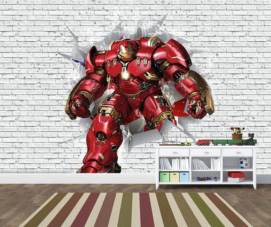 Papel de Parede 3D Vingadores Tijolos 0033