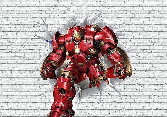 Papel de Parede 3D Vingadores Tijolos 0033  - Paredes Decoradas