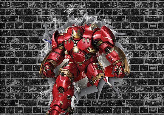 Papel de Parede 3D Vingadores Tijolos 0034  - Paredes Decoradas