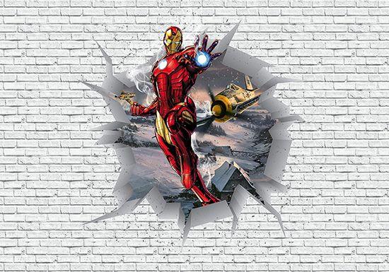 Papel de Parede 3D Vingadores Tijolos 0035  - Paredes Decoradas