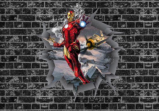 Papel de Parede 3D Vingadores Tijolos 0036