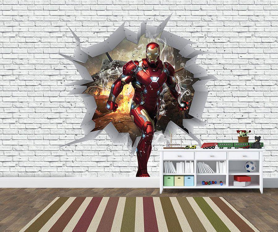 Papel de Parede 3D Vingadores Tijolos 0037