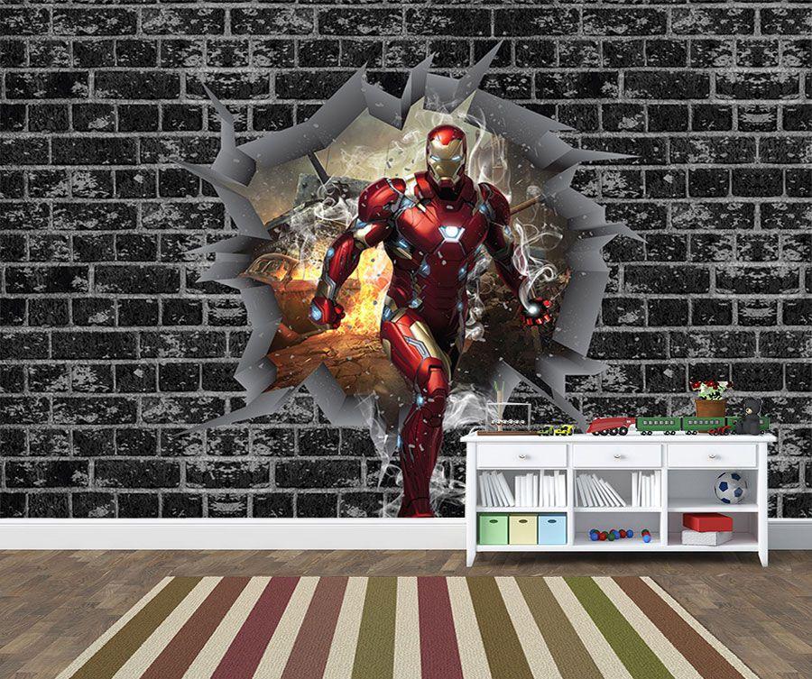 Papel de Parede 3D Vingadores Tijolos 0038