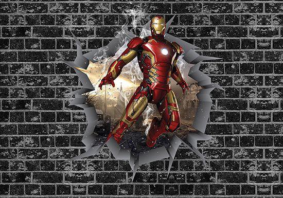 Papel de Parede 3D Vingadores Tijolos 0040  - Paredes Decoradas