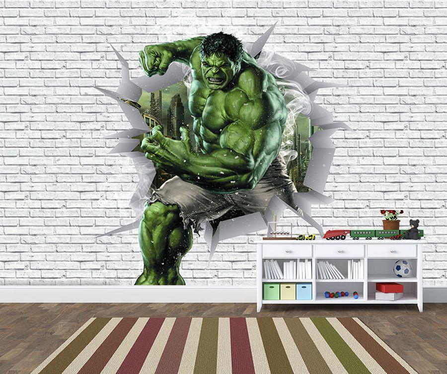 Papel de Parede 3D Vingadores Tijolos 0043