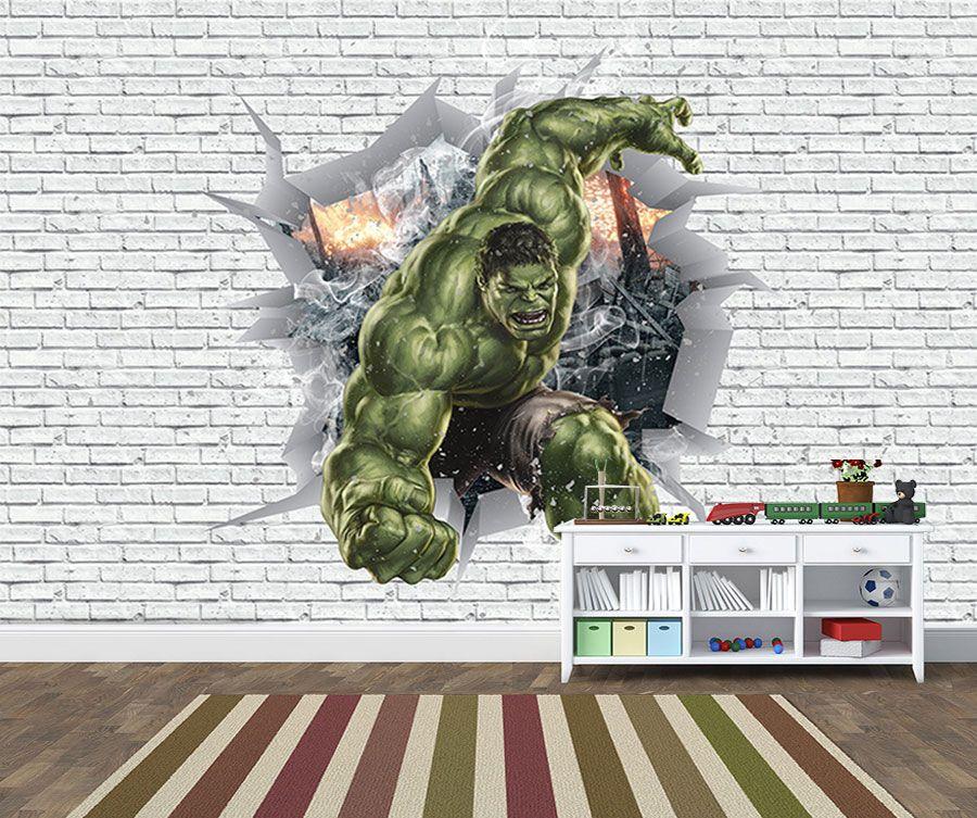 Papel de Parede 3D Vingadores Tijolos 0047  - Paredes Decoradas