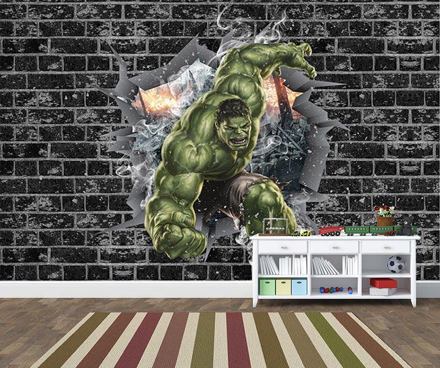 Papel de Parede 3D Vingadores Tijolos 0048