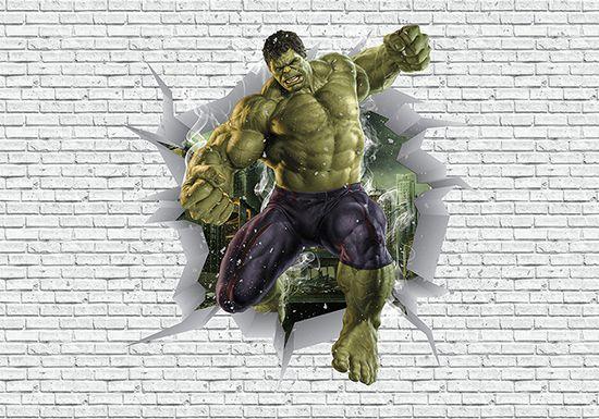 Papel de Parede 3D Vingadores Tijolos 0049  - Paredes Decoradas