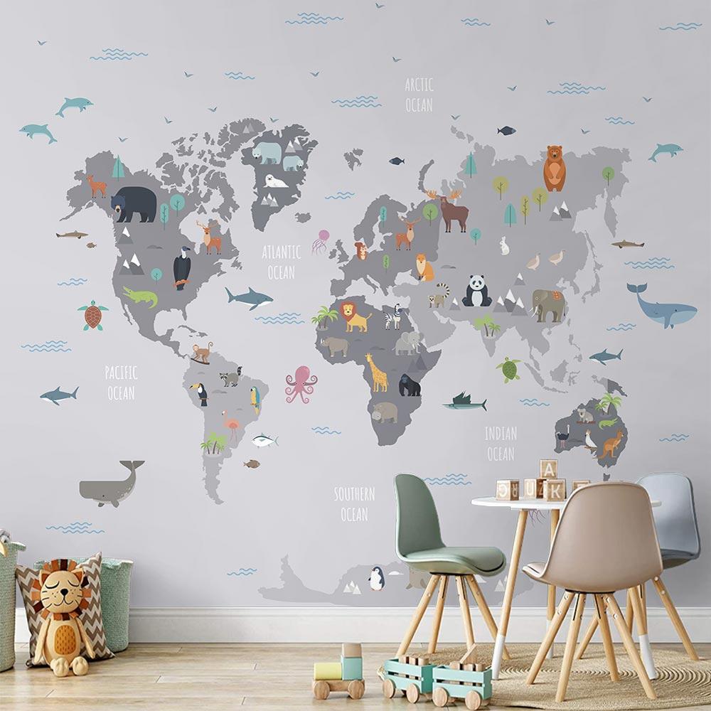 Papel de Parede Adesivo Vinilico 3D Mapa Mundi 0008
