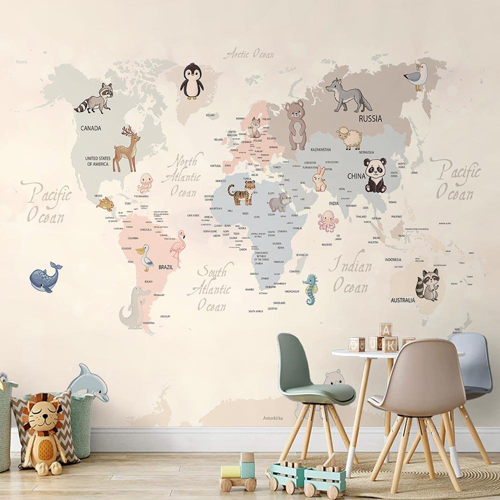 Papel de Parede Adesivo Vinilico 3D Mapa Mundi 0016