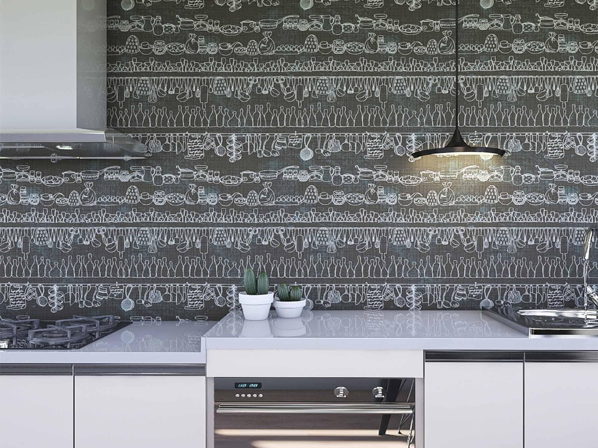 Papel de Parede Cozinha 0003 - Adesivos de Parede  - Paredes Decoradas