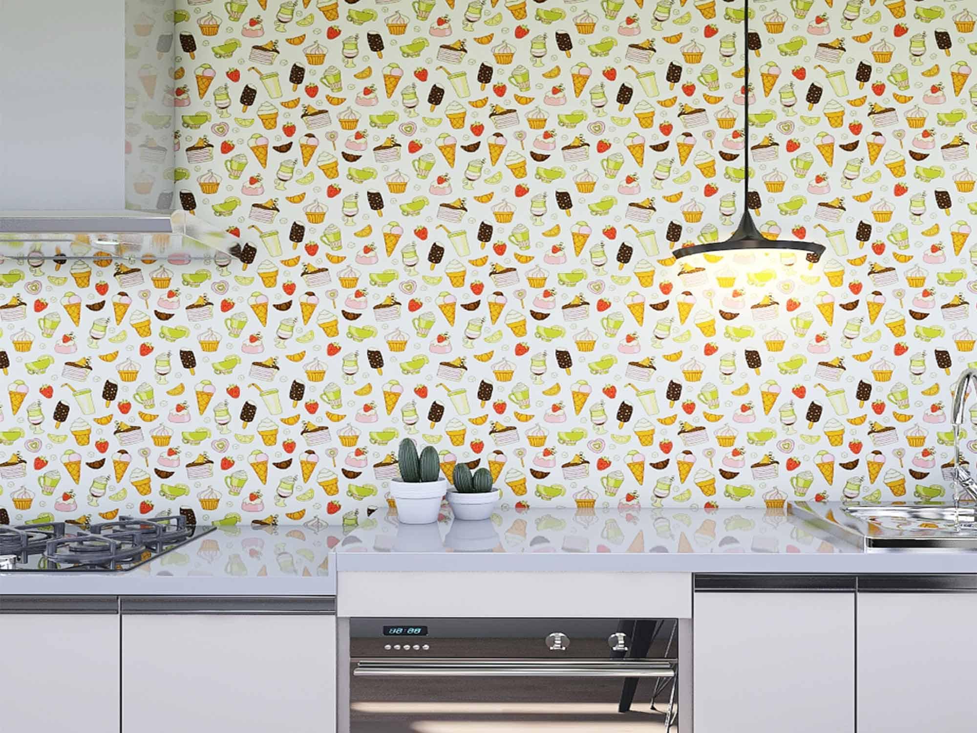 Papel de Parede Cozinha 0005 - Adesivos de Parede  - Paredes Decoradas