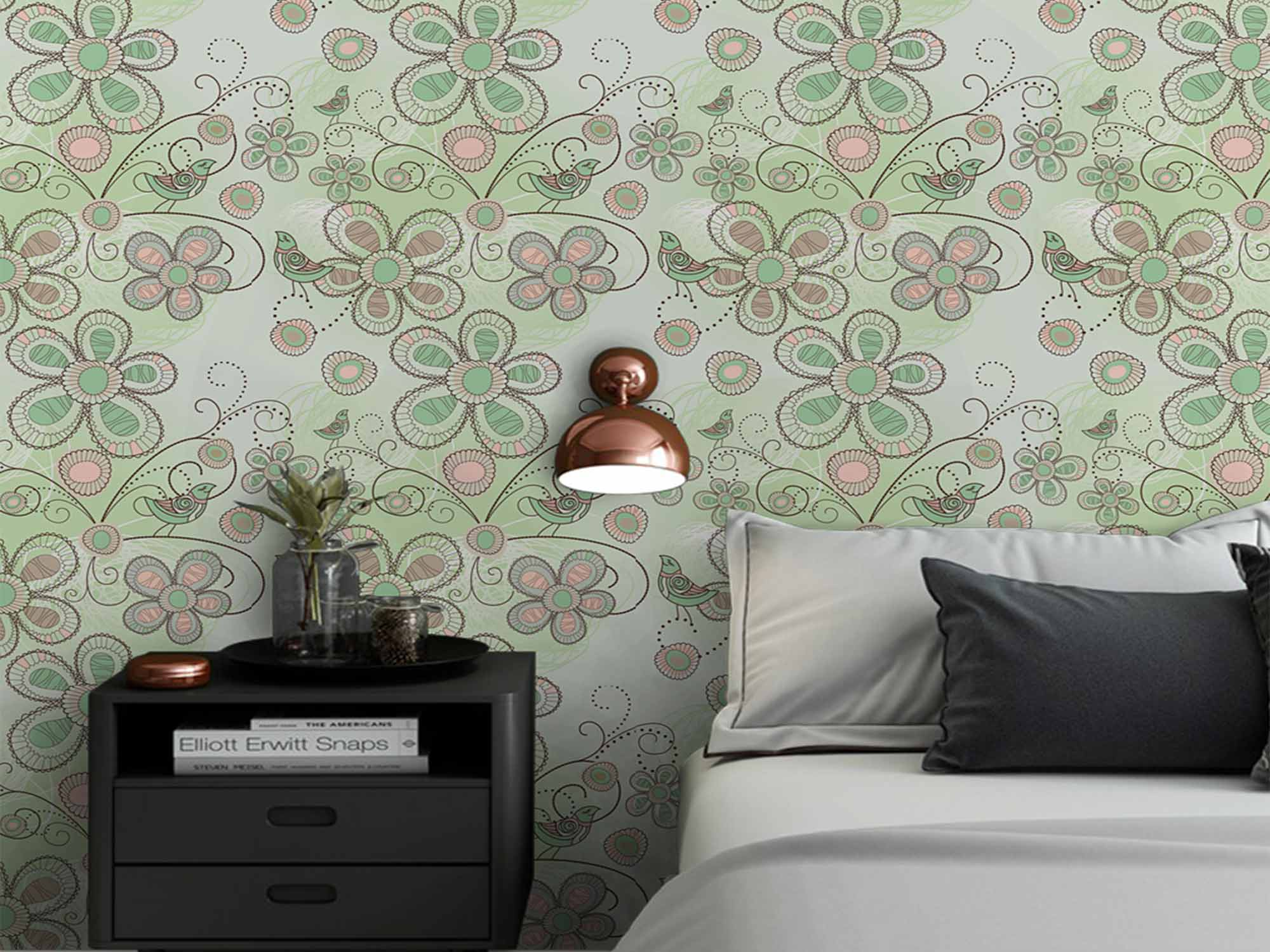 Papel de Parede Floral 0015 - Adesivos de Parede  - Paredes Decoradas