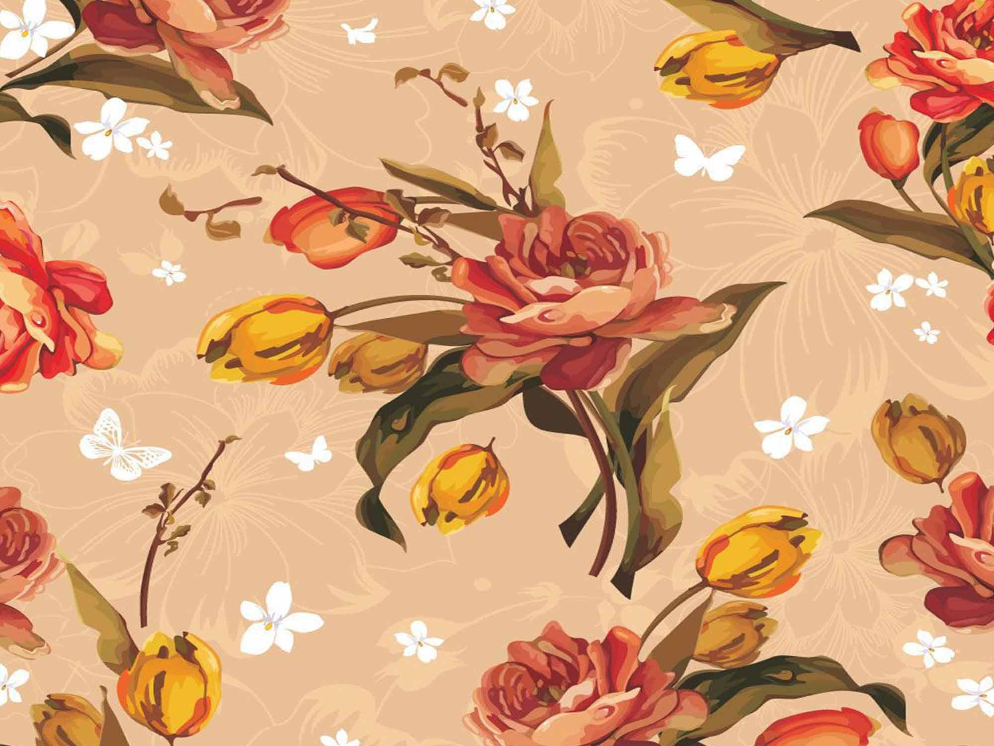 Papel de Parede Floral 0039 - Adesivos de Parede  - Paredes Decoradas