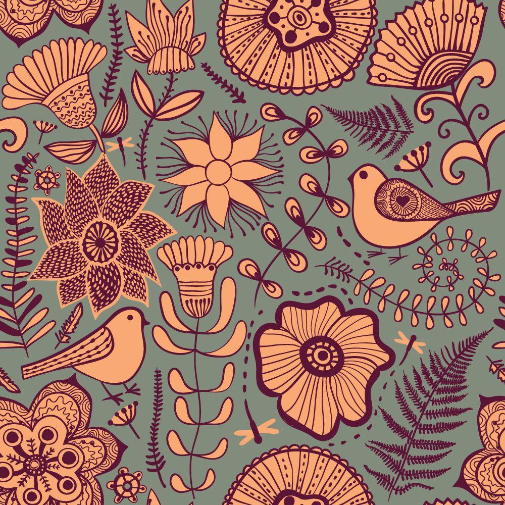 Papel de Parede Floral 0047 - Adesivos de Parede  - Paredes Decoradas