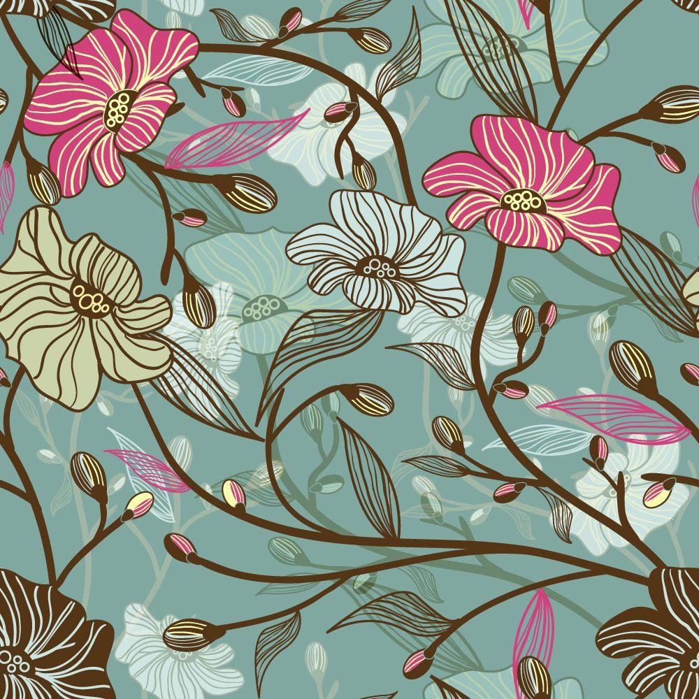 Papel de Parede Floral 0049 - Adesivos de Parede  - Paredes Decoradas