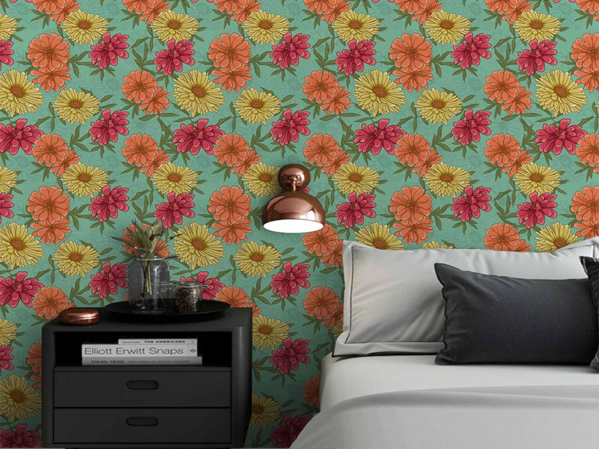 Papel de Parede Floral 0055 - Adesivos de Parede  - Paredes Decoradas