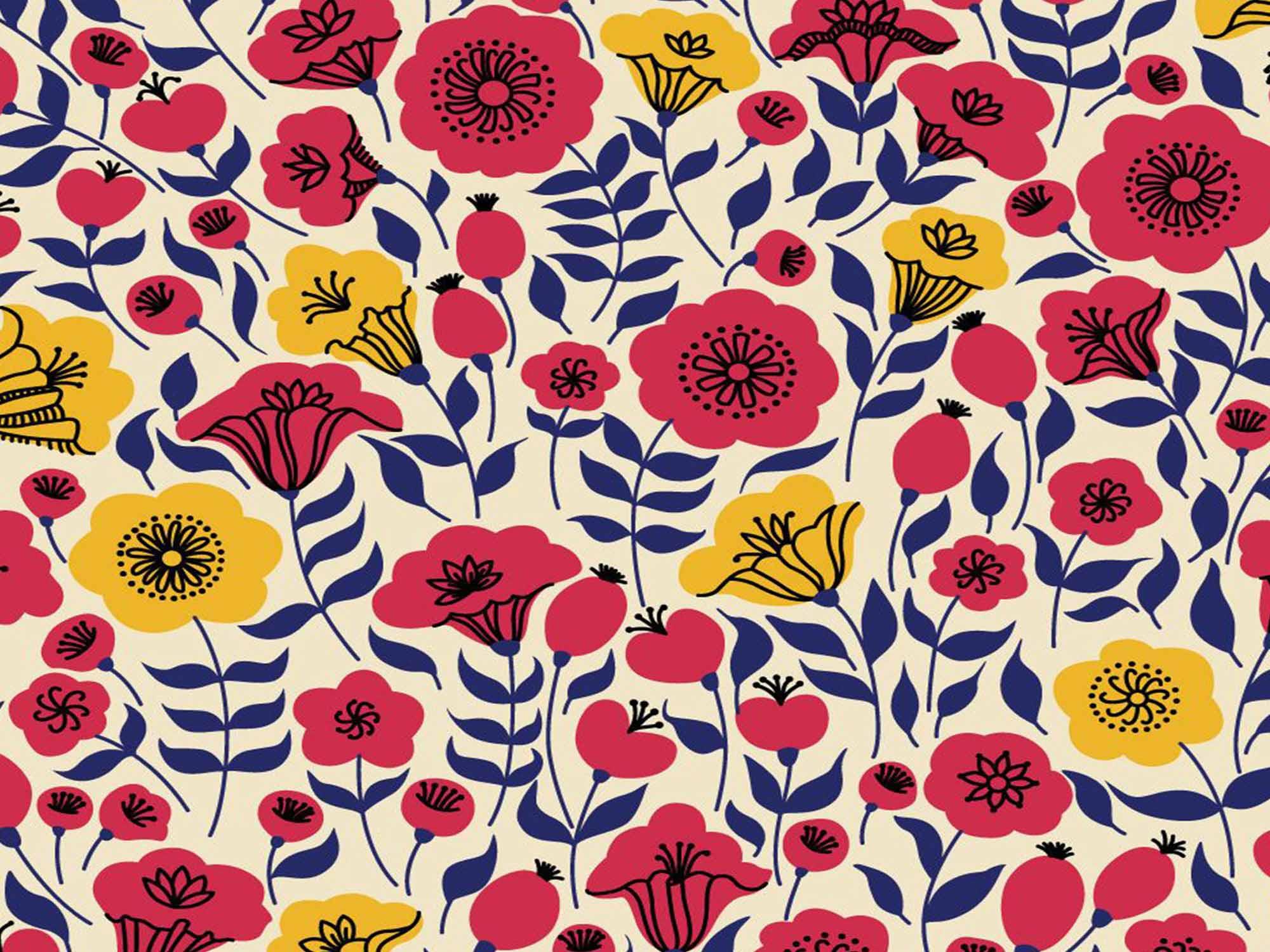 Papel de Parede Floral 0068 - Adesivos de Parede  - Paredes Decoradas
